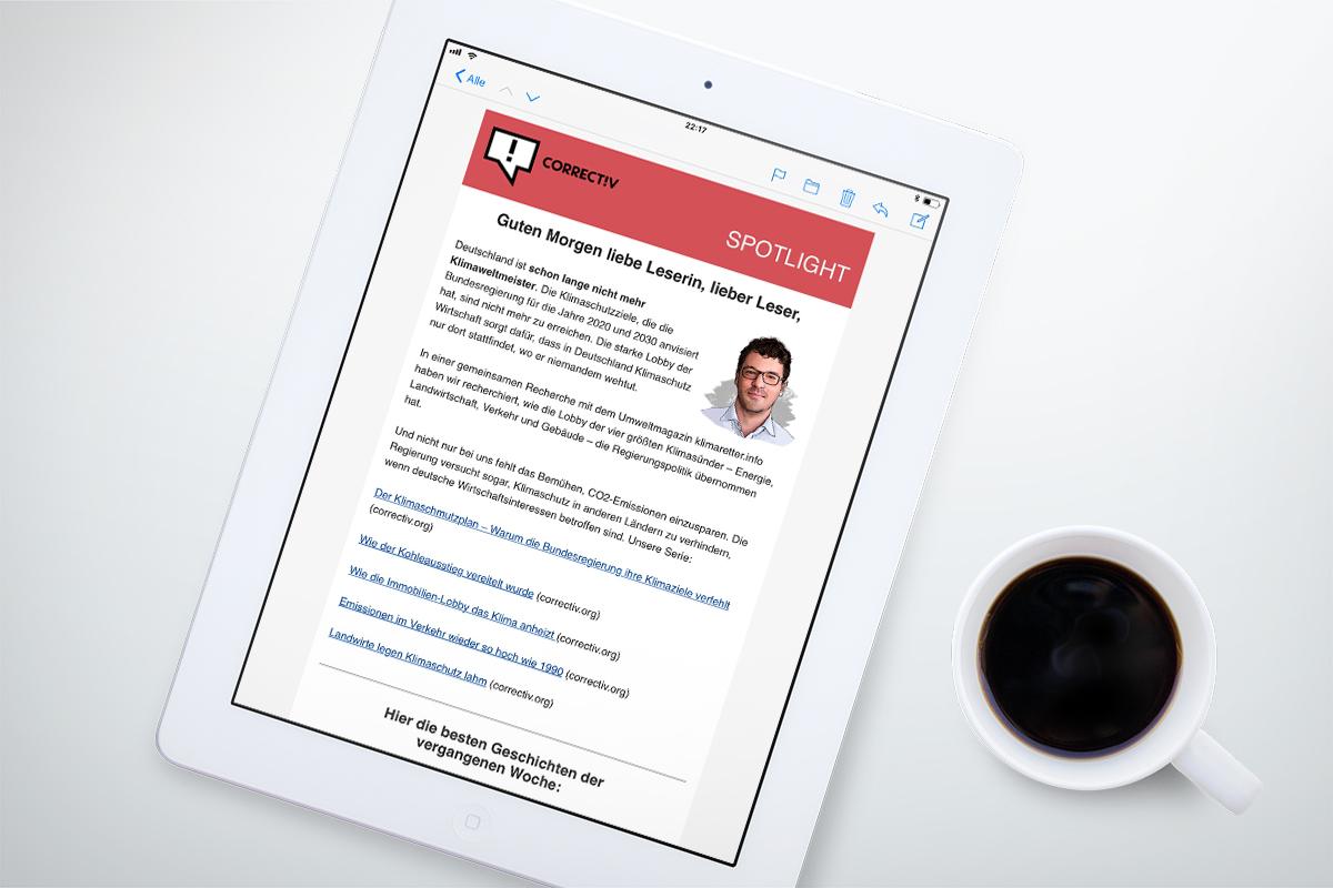 Correctiv Newsletter auf iPad