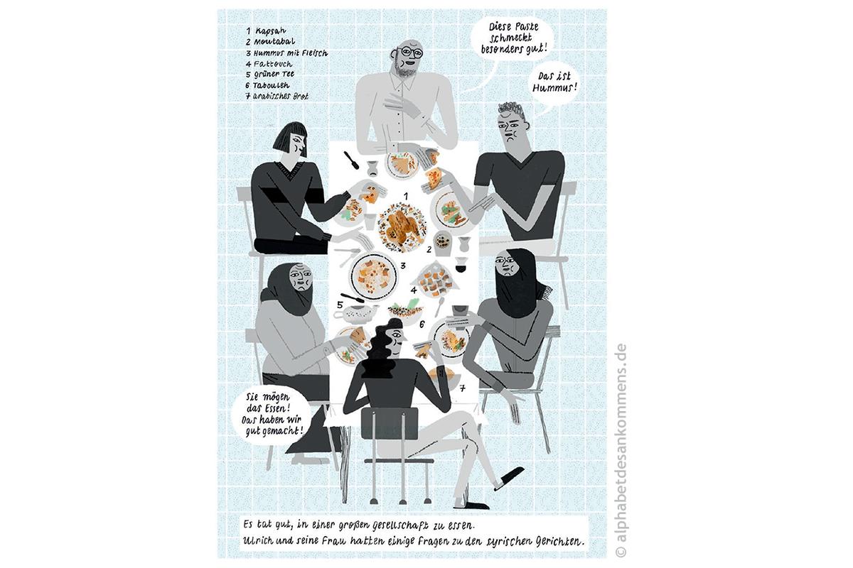 Motiv aus »Brot, Salz und verrückter Käse«, Text: Muhammad Al Ajeel, Zeichnungen: Julia Kluge © alphabetdesankommens.de