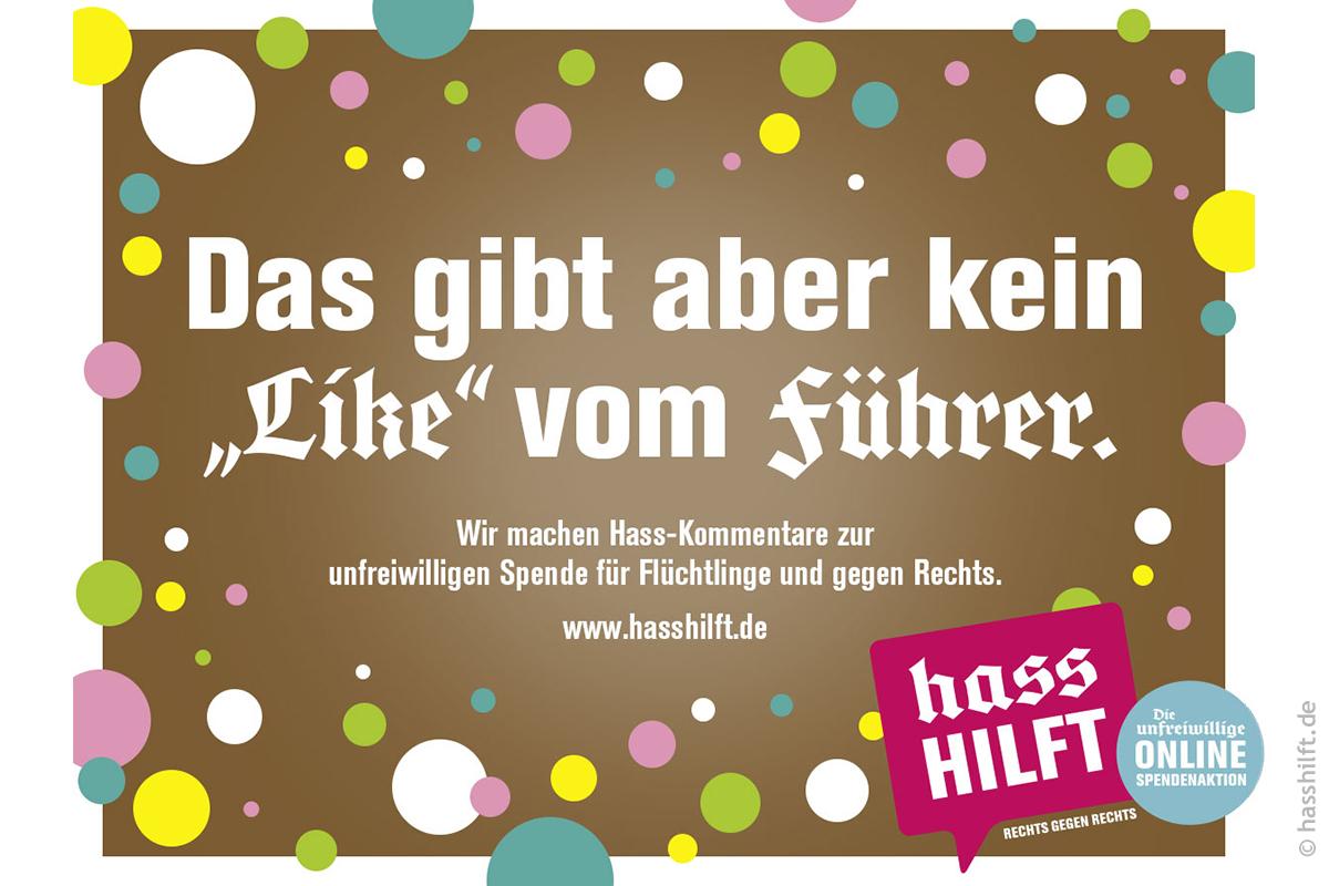 """""""Das gibt aber kein """"Like"""" vom Führer."""" – Motiv von hassHILFT.de"""