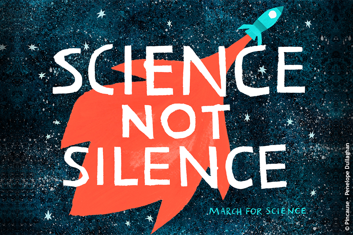 "Illustration ""March for Science"" © Pincause – Penelope Dullaghan"