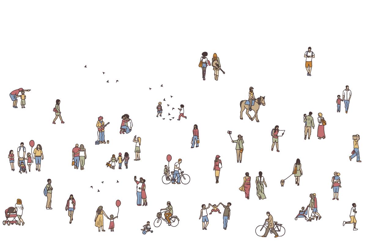 Menschenmengen mit Personen verschiedenen Alters und Aussehen.
